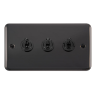 Scolmore Click Deco Plus Black Nickel 10AX 3 Gang 2 Way Toggle Switch DPBN423