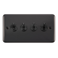 Scolmore Click Deco Plus Black Nickel 10AX 4 Gang 2 Way Toggle Switch DPBN424