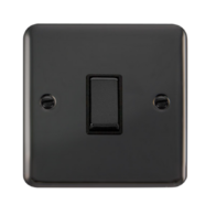 Scolmore Click Deco Plus Black Nickel 10AX Ingot 1 Gang 2 Way Plate Switch DPBN411BK