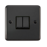 Scolmore Click Deco Plus Black Nickel 10AX Ingot 2 Gang 2 Way Plate Switch DPBN412BK
