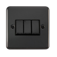 Scolmore Click Deco Plus Black Nickel 10AX Ingot 3 Gang 2 Way Plate Switch DPBN413BK