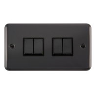 Scolmore Click Deco Plus Black Nickel 10AX Ingot 4 Gang 2 Way Plate Switch DPBN414BK