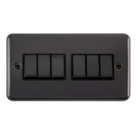 Scolmore Click Deco Plus Black Nickel 10AX Ingot 6 Gang 2 Way Plate Switch DPBN416BK