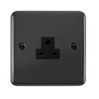 Scolmore Click Deco Plus Black Nickel 1G 2A Round Pin Socket Outlet DPBN039BK