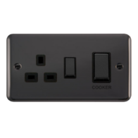 Scolmore Click Deco Plus Black Nickel 45A DP Ingot Switch & 13A Switched Socket DPBN504BK