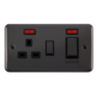 Scolmore Click Deco Plus Black Nickel 45A DP Ingot Switch & 13A Switched Socket with Neon DPBN505BK