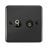 Scolmore Click Deco Plus Black Nickel Isolated Satellite & Co-Axial Socket DPBN157BK