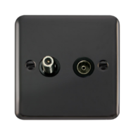 Scolmore Click Deco Plus Black Nickel Non-Isolated Satellite & Co-Axial Socket DPBN170BK
