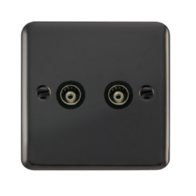 Scolmore Click Deco Plus Black Nickel Twin Isolated Co-Axial Socket DPBN159BK