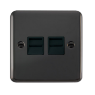 Scolmore Click Deco Plus Black Nickel Twin Telephone Socket Secondary DPBN126BK