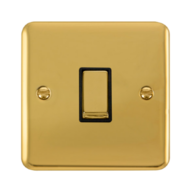 Scolmore Click Deco Plus Polished Brass 10AX Ingot 1 Gang 2 Way Plate Switch DPBR411