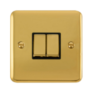 Scolmore Click Deco Plus Polished Brass 10AX Ingot 2 Gang 2 Way Plate Switch DPBR412