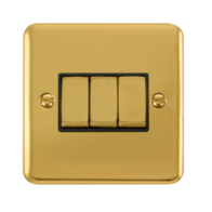 Scolmore Click Deco Plus Polished Brass 10AX Ingot 3 Gang 2 Way Plate Switch DPBR413