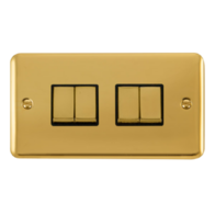Scolmore Click Deco Plus Polished Brass 10AX Ingot 4 Gang 2 Way Plate Switch DPBR414