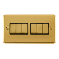 Scolmore Click Deco Plus Polished Brass 10AX Ingot 6 Gang 2 Way Plate Switch DPBR416