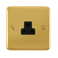 Scolmore Click Deco Plus Polished Brass 1G 2A Round Pin Socket Outlet DPBR039