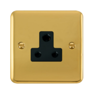 Scolmore Click Deco Plus Polished Brass 1G 5A Round Pin Socket Outlet DPBR038