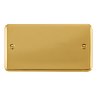 Scolmore Click Deco Plus Polished Brass 2 Gang Double Blank Plate DPBR061