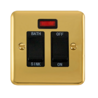 Scolmore Click Deco Plus Polished Brass 20A DP Sink/Bath Switch DPBR024