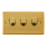 Scolmore Click Deco Plus Polished Brass 3G 2 Way 400W Dimmer Switch DPBR153