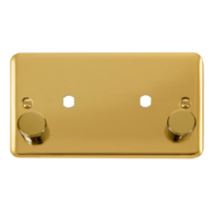 Scolmore Click Deco Plus Polished Brass Double Dimmer Mounting Plate & Knobs 1630W DPBR186