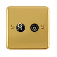 Scolmore Click Deco Plus Polished Brass Isolated Satellite & Co-Axial Socket DPBR157