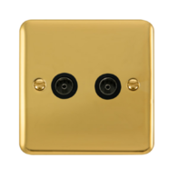 Scolmore Click Deco Plus Polished Brass Non-Isolated Coaxial Twin Socket DPBR066