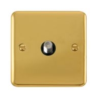 Scolmore Click Deco Plus Polished Brass Non-Isolated Single Satellite Socket  DPBR156