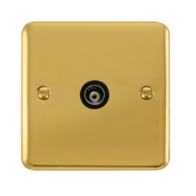 Scolmore Click Deco Plus Polished Brass Single Isolated Co-Axial Socket DPBR158