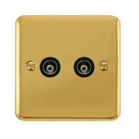 Scolmore Click Deco Plus Polished Brass Twin Isolated Co-Axial Socket DPBR159