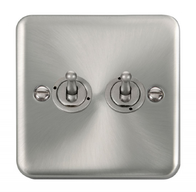 Scolmore Click Deco Plus Satin Chrome 10AX 2 Gang 2 Way Toggle Switch DPSC422