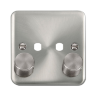 Scolmore Click Deco Plus Satin Chrome 2G Single Dimmer Plate & Knobs DPSC152PL