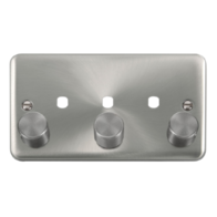 Scolmore Click Deco Plus Satin Chrome 3G Double Dimmer Plate & Knobs DPSC153PL