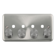 Scolmore Click Deco Plus Satin Chrome 4G Double Dimmer Plate & Knob DPSC154PL