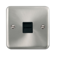 Scolmore Click Deco Plus Satin Chrome Single Telephone Socket Secondary DPSC125