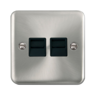 Scolmore Click Deco Plus Satin Chrome Twin Telephone Socket Secondary DPSC126