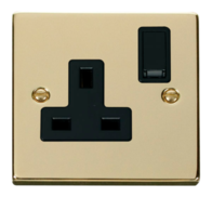Scolmore Click Deco Polished Brass 13A 1 Gang Double Pole Switched Socket VPBR035