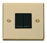 Scolmore Click Deco Polished Brass 2 Gang 2 Way Switch VPBR012