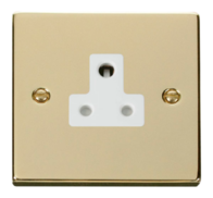 Scolmore Click Deco polished Brass 5A Single Socket VPBR038WH