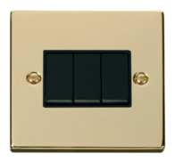 Scolmore Click Deco Polished Brass 3 Gang 2 Way Switch VPBR013