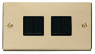 Scolmore Click Deco Polished Brass 4 Gang 2 Way Switch VPBR019