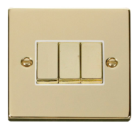 Scolmore Click Deco Polished Brass Ingot Light Switch 3 Gang 2Way VPBR413