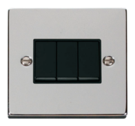 Scolmore Click Deco Polished Chrome 3 Gang 2 Way Switch VPCH013