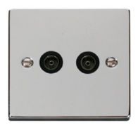 Scolmore Click Deco polished Chrome Double Coax Socket VPCH066BK