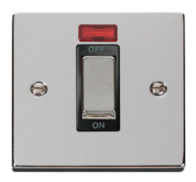 Scolmore Click Deco polished Chrome Ingot 45A DP Switch Neon VPCH501BK
