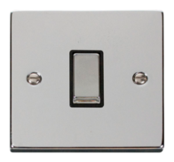 Scolmore Click Deco polished Chrome Ingot Light Switch 1 Gang 2Way VPCH411BK