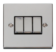 Scolmore Click Deco polished Chrome Ingot Light Switch 3 Gang 2Way VPCH413BK