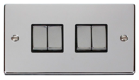 Scolmore Click Deco polished Chrome Ingot Light Switch 4 Gang 2Way VPCH414BK