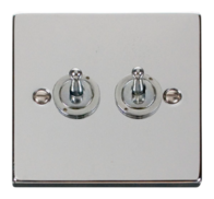 Scolmore Click Deco polished Chrome Toggle Switch 2 Gang 2Way VPCH422