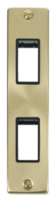 Scolmore Click Deco Satin Brass 2G Twin Architrave Switch Plate VPSB472
